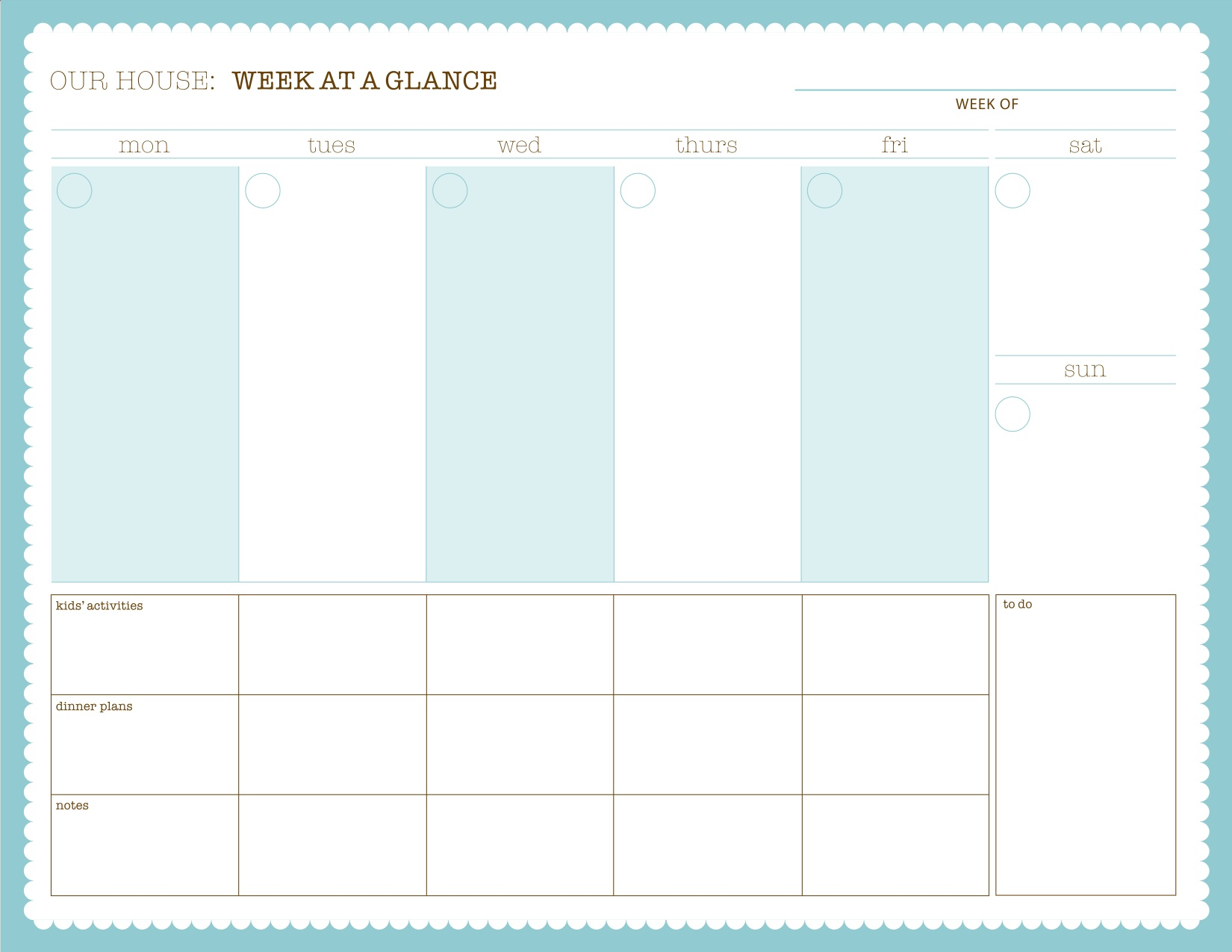 2016 Week At A Glance Printable Calendar | Search Results | 2016 ...